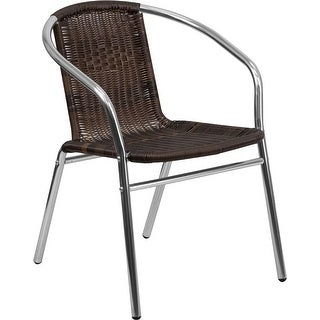 Skovde Aluminum and Dark Brown Rattan Stack Chair for Patio/Bar/Restaurant