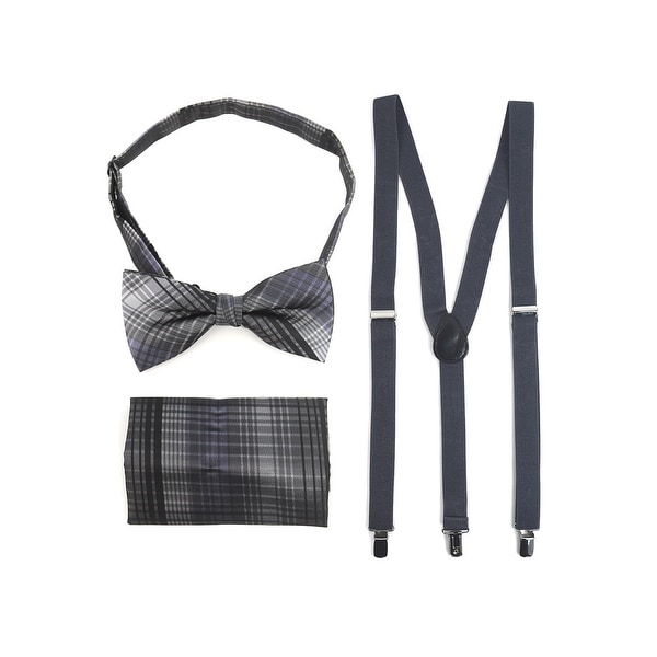 3pc Men's Charcoal Banded Suspenders, Plaid Bow Tie and Hanky Sets - One Size Fits most