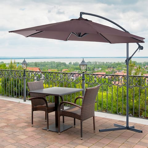 Outsunny 10' Cantilever Hanging Tilt Offset Patio Umbrella with UV & Water Fighting Material and a Sturdy Stand - Brown
