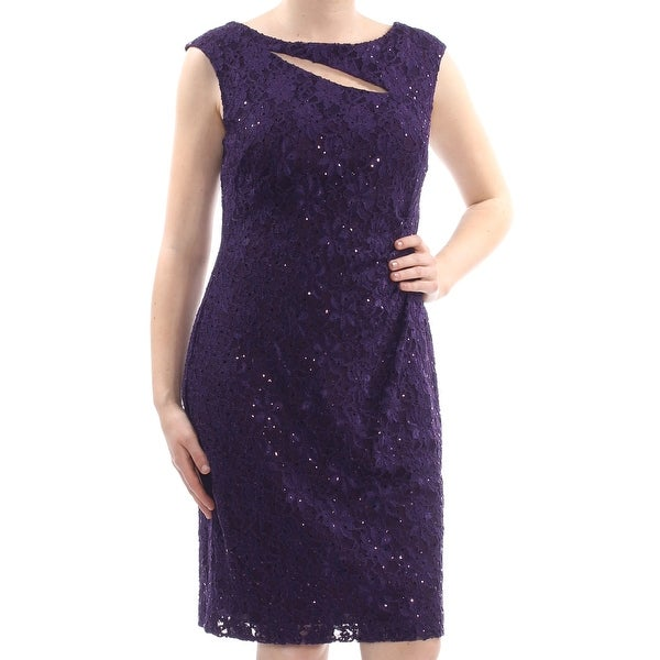 66eff5b4cd CONNECTED Womens Purple Lace Sequined Cut Out Floral Sleeveless Knee Length  Shift Prom Dress Size: 10