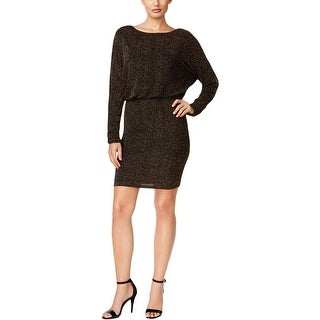 Jessica Howard Womens Plus Missy Cocktail Dress Blouson Metallic