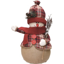 "22"" Red and Brown Plaid Snowman with Broom  Scarf and Hat Table Top Christmas Figure"