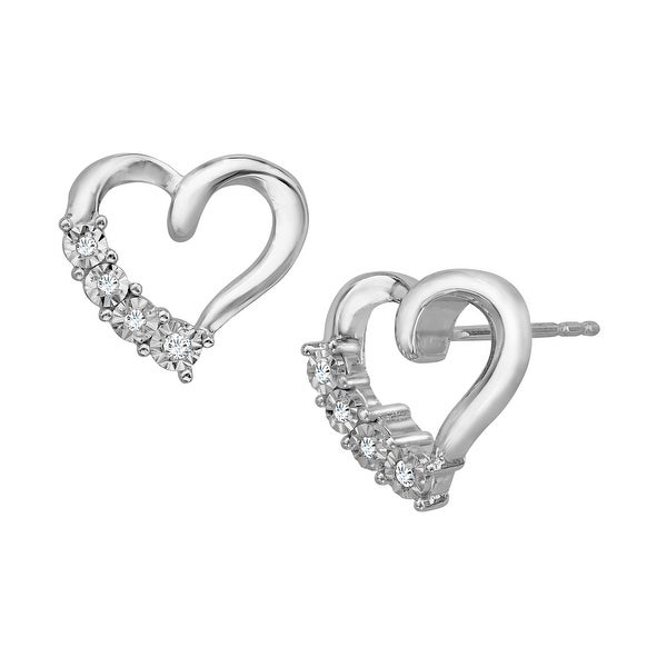 Heart Stud Earrings with Diamond Accents in Sterling Silver