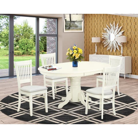 Kitchen Dinette Set - Dining Chairs - Butterfly Leaf Wood Dining Table - Linen White Finish (Pieces Option)