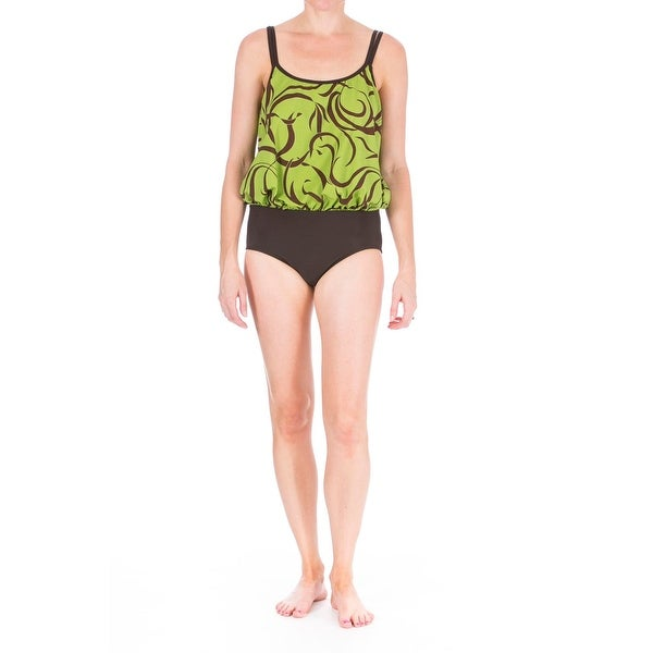 Mainstream Womens Full Coverage Blouson One-Piece Swimsuit