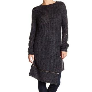 Solutions Dark Gray Women's Size XL Zipped-Hem Knit Sweater Dress