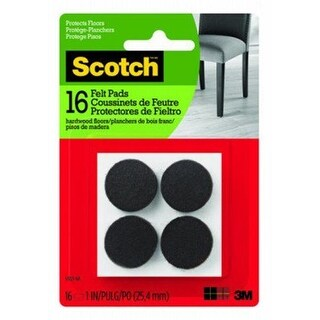 3M 236645 1 in. Scotch Brown Round Felt Pads - 16 Count