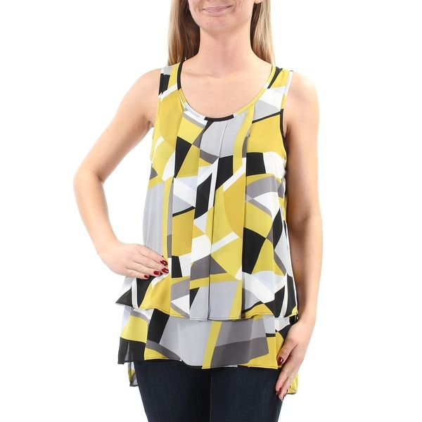 fac781dd35834 Shop ALFANI Womens Green Pleated Layered Geometric Sleeveless Scoop Neck  Wear To Work Top Size  2 - On Sale - Free Shipping On Orders Over  45 -  Overstock - ...