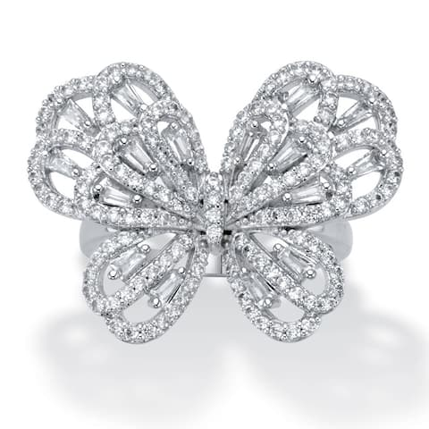 Platinum Plated Cubic Zirconia Baguette Butterfly Ring