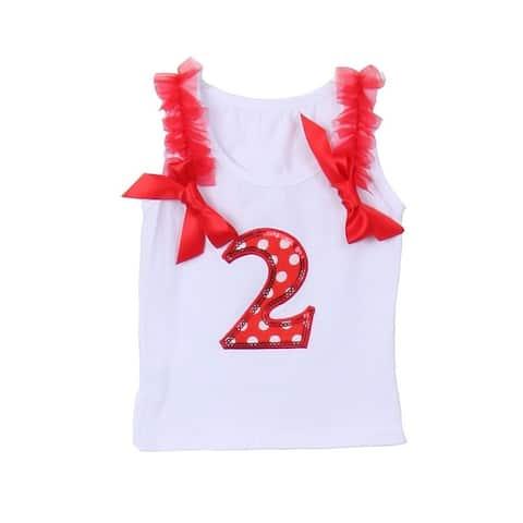 Cinderella Couture Baby Girls White Red Cotton Birthday Sleeveless Top 1-2Y