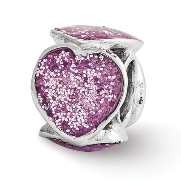 Italian Sterling Silver Reflections Violet Glitter Enameled Heart Bead (4mm Diameter Hole)