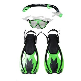 Snorkel Master Snorkeling KIDS Mask, Snorkel, & Fins Set, Green/Black (2 options available)