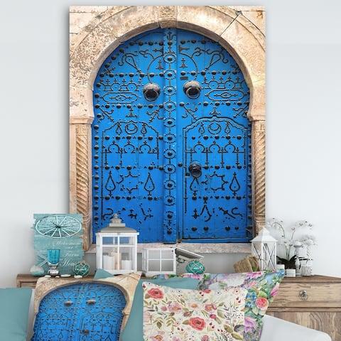 Designart 'Vintage North African Door' Vintage Premium Canvas Wall Art - Multi-color