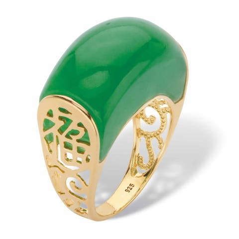 Yellow Gold over Sterling Silver Genuine Green Jade Lucky Symbols zfome Ring