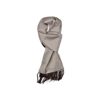 Tom Ford Men's Silver Olive Houndstooth Print Silk Cashmere Scarf - M