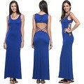 Women's Casual Summer Fashion Hollow Open Back Sleeveless Long Maxi Dress - Thumbnail 25