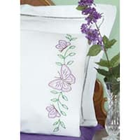 Circle Of Butterflies - Stamped Pillowcases W/White Perle Edge 2/Pkg