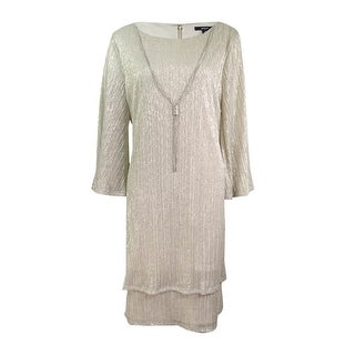 MSK Women's Bell-Sleeve Necklace Dress - mink