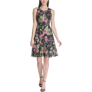 Tommy Hilfiger Womens Orchidea Party Dress Floral Lace Fit & Flare - Black Multi