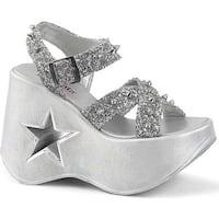 Demonia Women's Dynamite 02 Sandal Silver Glitter