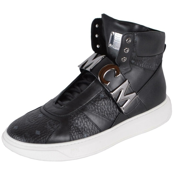 MCM Men's Black Leather Visetos Logo High Top Sneakers Shoes W/Plaque