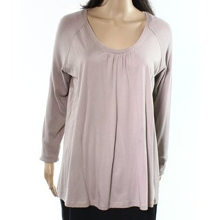 Hue NEW Lilac Purple Women's Size Large L Ribbed Sleeves Knit Top