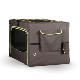 """K&H Pet Products Classy Go Soft Pet Crate Medium Brown/Lime Green 29.92"""" x 19.88"""" x 18.90"""""""