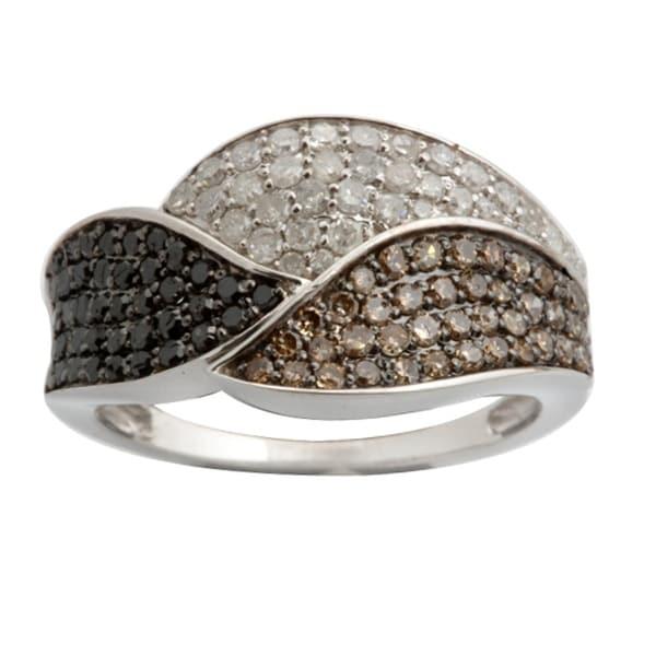 Fabulous 0.96 Carats Round Brilliant Cut Natural Brown, Black & White Diamond Designer Ring