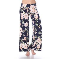 Flower Print Palazzo Pants - Peach Flower