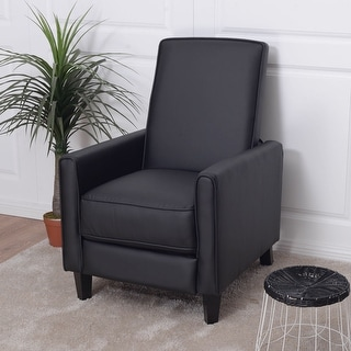 Costway Single Recliner Sofa PU Leather Club Chair Living Room Furniture Black Modern
