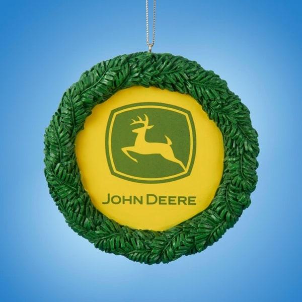 "3.75"" John Deere Decorative Wreath Christmas Ornament"