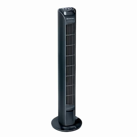 Comfort Zone CZTFR1BK 3-Speed Tower Fan 31-inch Oscillating Tower Fan with Remote and High-Performance Centrifugal Blades