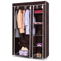 Costway 69'' Portable Closet Storage Organizer Clothes Wardrobe Shoe Rack W/6 Shelf Brown