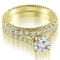 1.80 cttw. 14K Yellow Gold Vintage Cathedral Round Cut Diamond Bridal Set - Thumbnail 0