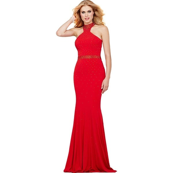 Jovani Rhinestone Halter Formal Dress