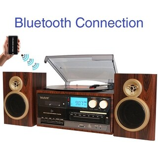 Boytone BT-28SPM, Bluetooth Classic Style Record Player Turntable with AM/FM Radio, CD / Cassette Player, 2 Separate Stereo Spe