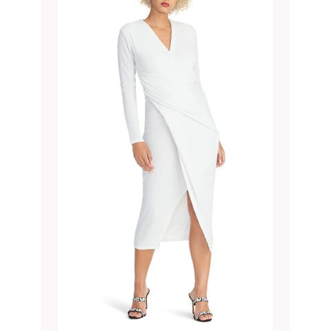 RACHEL ROY White Long Sleeve Midi Hi-Lo Dress Size M