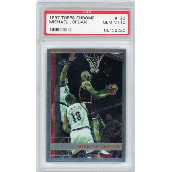 Michael Jordan Chicago Bulls 1997 Topps Chrome 123 Basketball Card Graded PSA 10 GEM MINT - Black - 5' x 8'