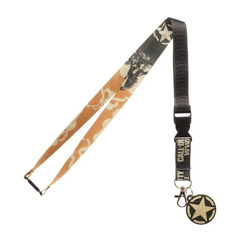 """Call Of Duty WWII Video Game ID Lanyard Badge Holder With 2"""" Rubber Charm Pendant And Collectible Sticker"""