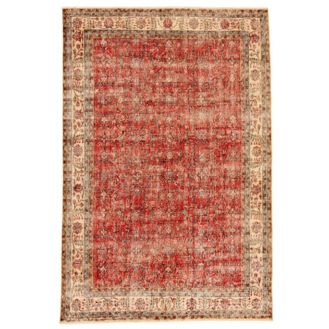 ECARPETGALLERY Hand-knotted Antalya Vintage Red Wool Rug - 6'7 x 10'0