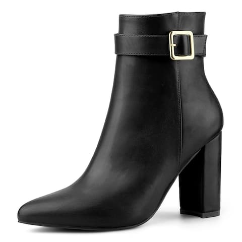 Women's Pointed Toe Buckle Decor Heel Ankle Booties