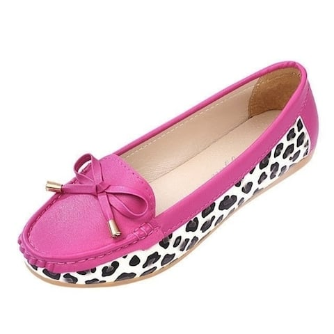 A New Single Xieping Round Flat With Shallow Mouth Leopard Doug Shoes Slip Comfortable Shoes