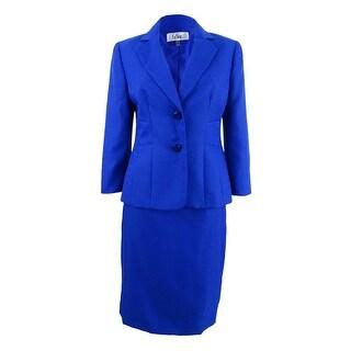 Le Suit Women's Textured Two-Button Skirt Suit - bali blue