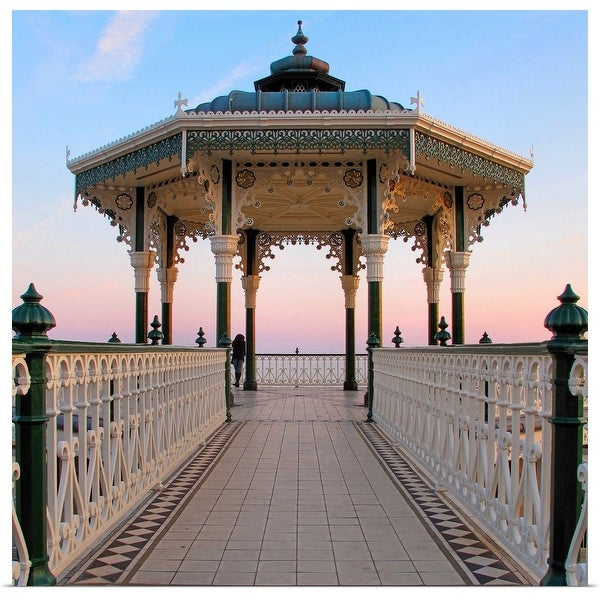 """""""A lone figure and an almost symmetrical shot of an ornate seaside bandstand."""" Poster Print"""