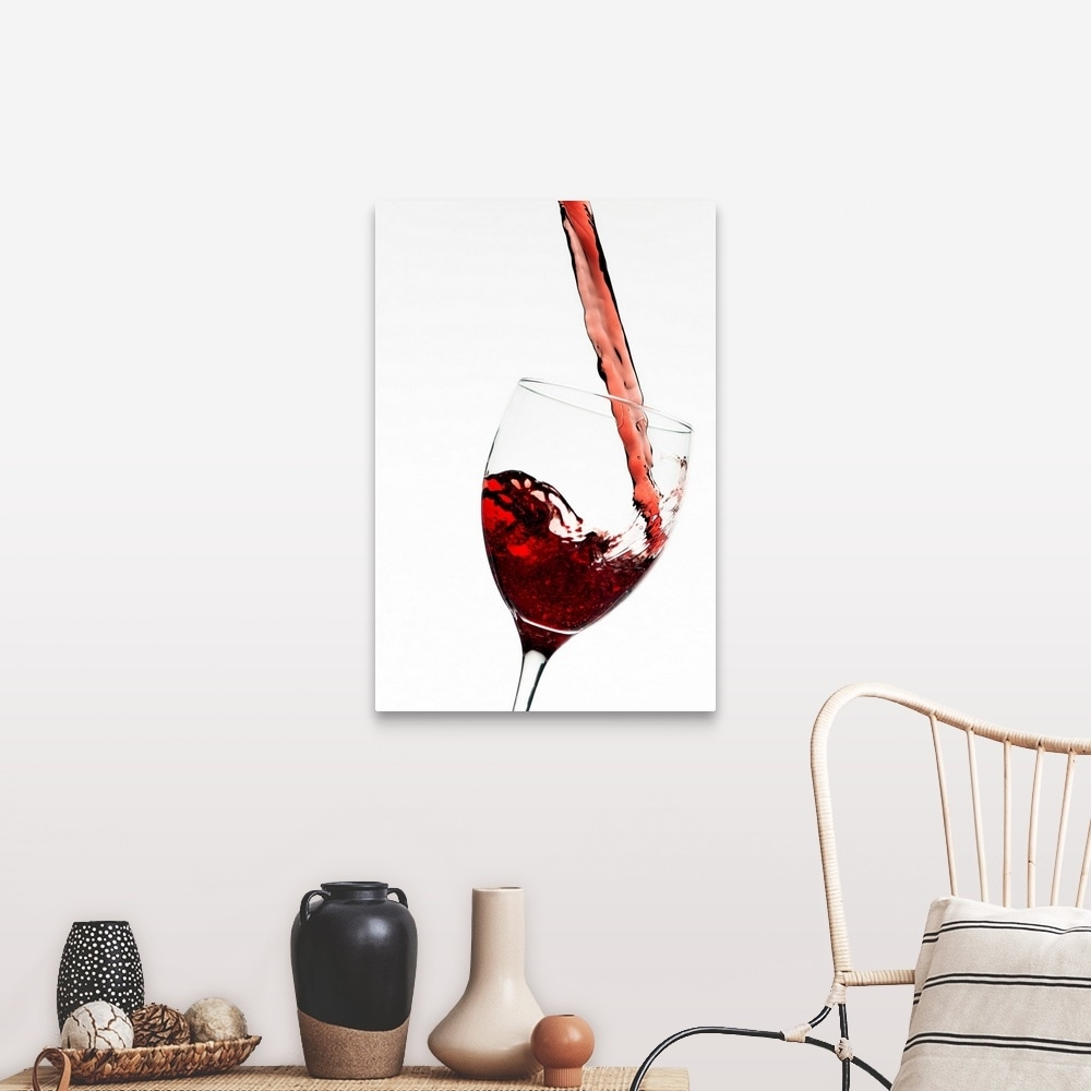 Close Up Of Red Wine Being Poured Into Glass On White Background Canvas Wall Art Overstock 16442119