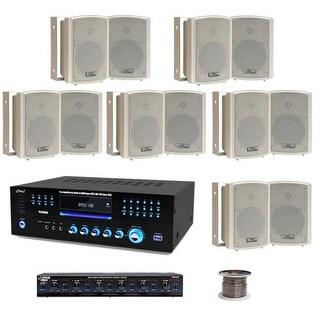 6 Room 5.25'' Waterproof Wall Mount Speaker System w/6 Volume Controls Knob & Selector