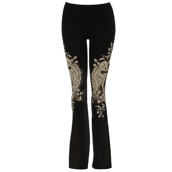 Funfash Plus Size Women Rhinestone Gothic Black Sweatpants Flare Pants