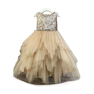 Little Girls Champagne Sequin Multiple Tiered Christmas Dress