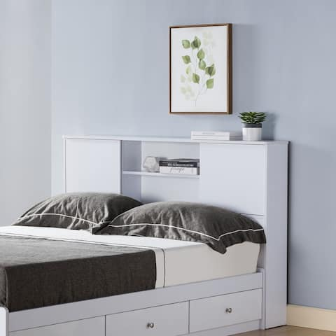 Q-Max Twin Bookcase Headboard with Two Large Cubbies and Two Smaller Shelves for Easy Organizing and Displays