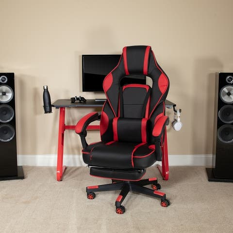 Ergonomic Gaming Chair -Recline Back/Arms, Footrest, Massaging Lumbar